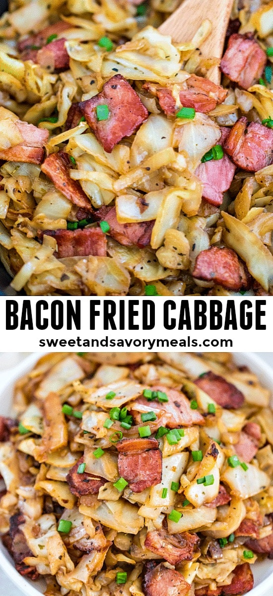 One pan bacon fried cabbage photo.