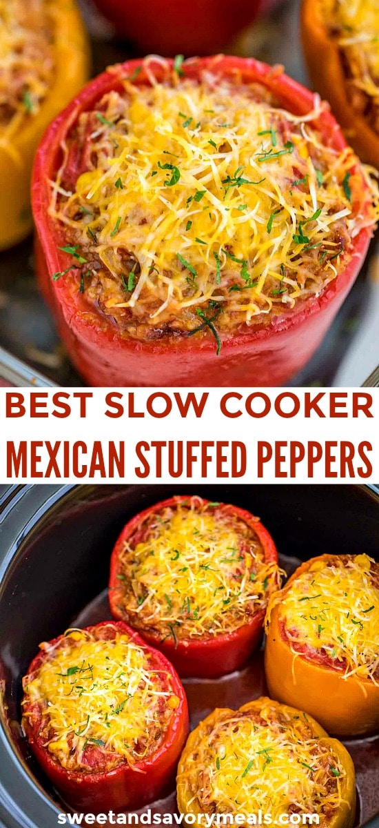 Easy Slow Cooker Mexican Stuffed Peppers