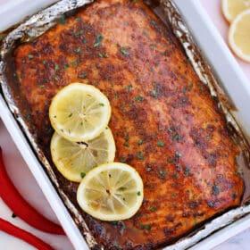 Garlic Brown Sugar Glazed Salmon