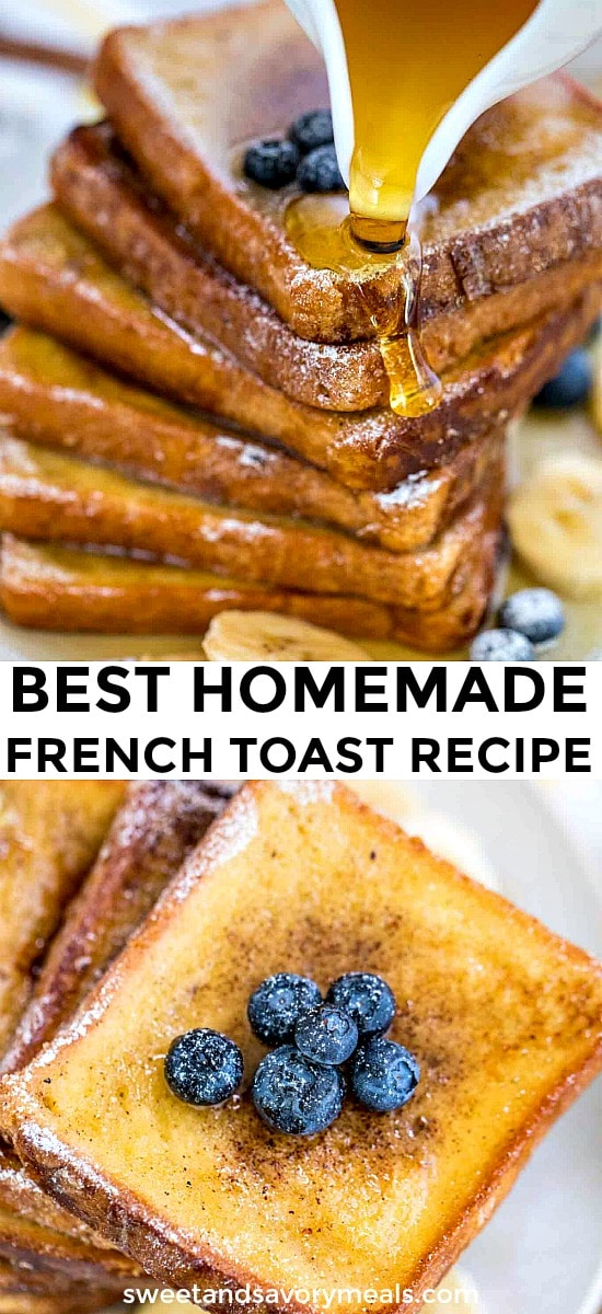 Photo of classic homemade french toast.