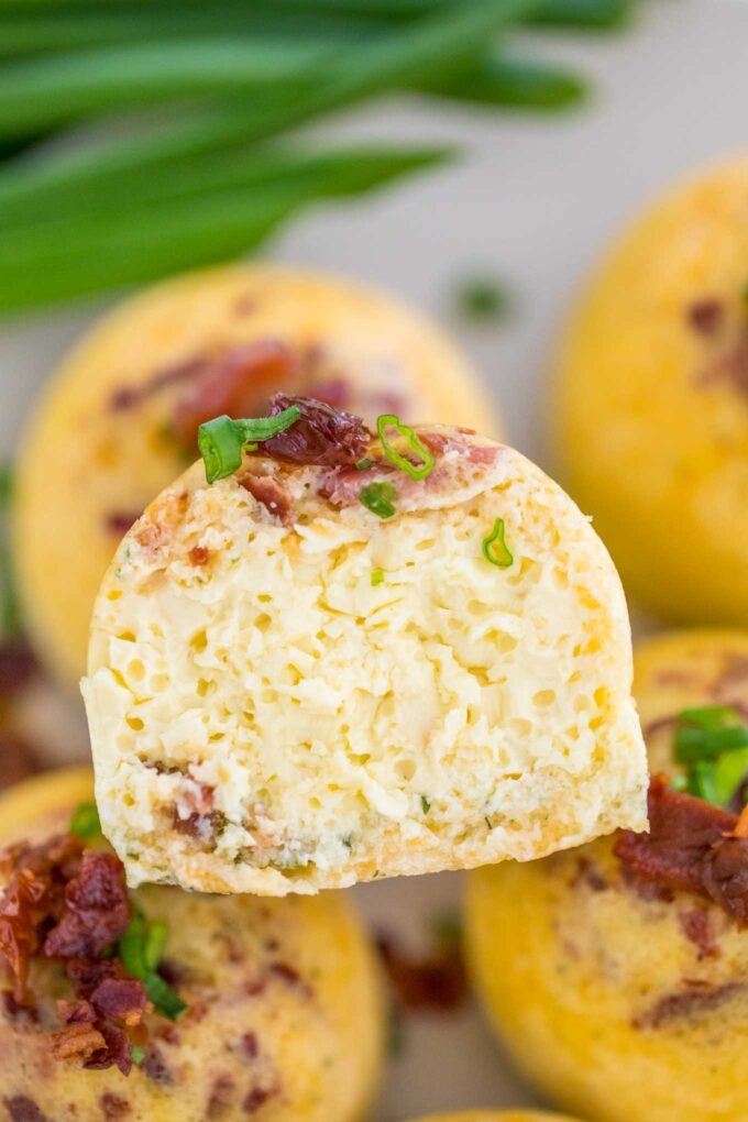 Instant pot egg bites with bacon and cheese photo.