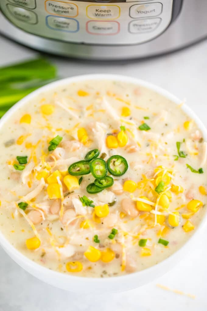 Instant Pot White Chicken Chili Bowl