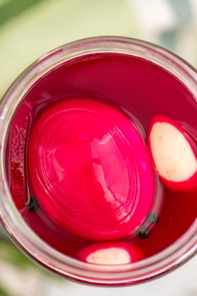 Pickled eggs with beets in a jar photo.