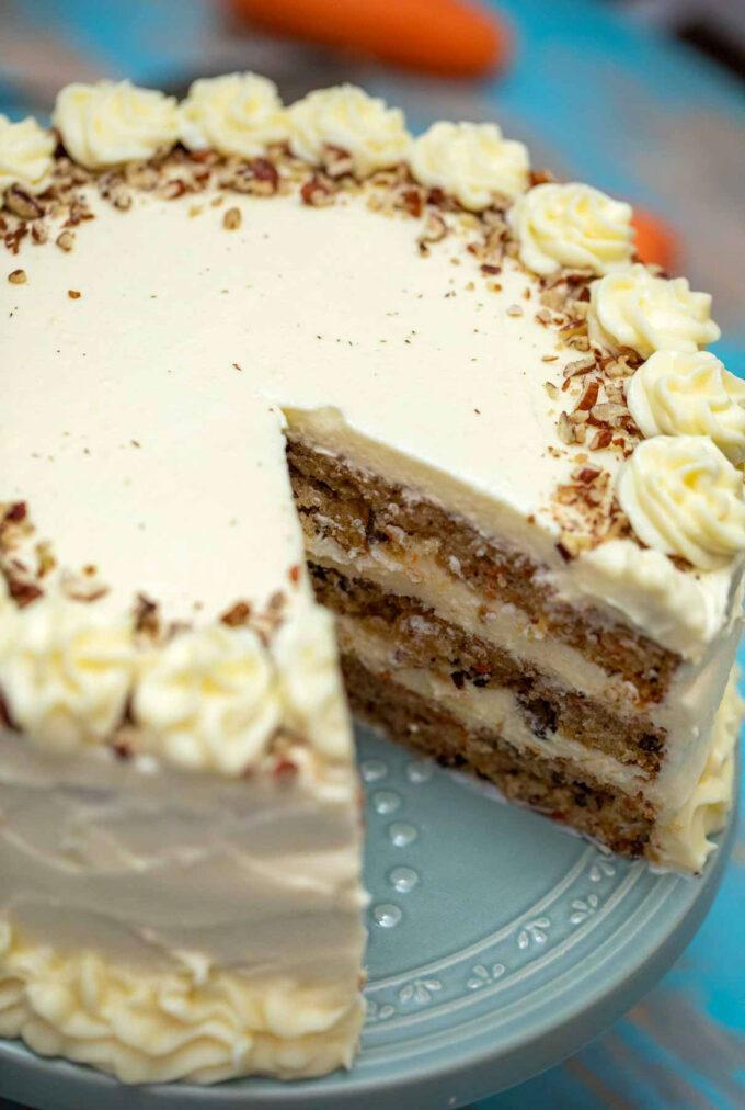 Photo of sliced carrot cake.