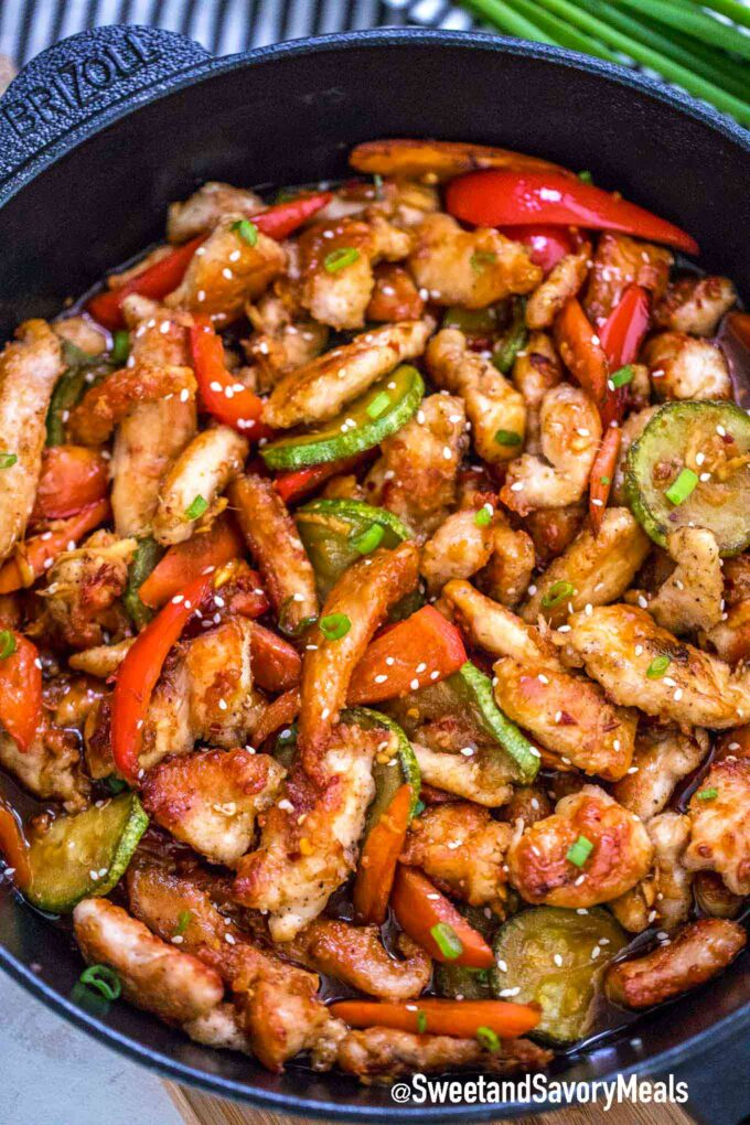 Hunan Chicken in a cast iron skillet