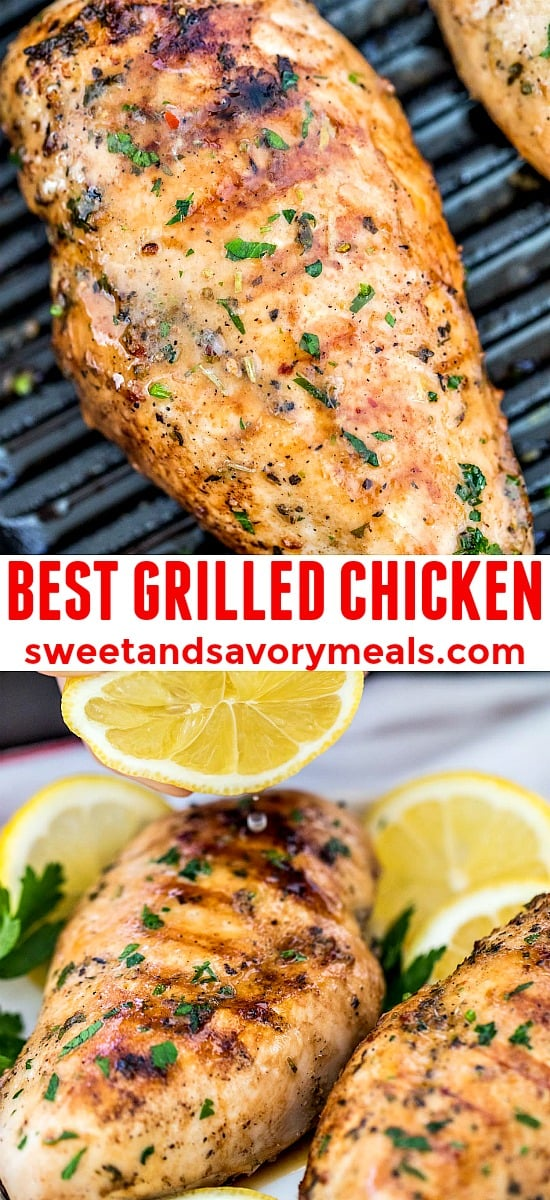 Picture of grilled and juicy chicken breasts.