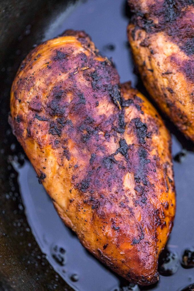 Picture of blackened chicken breasts.