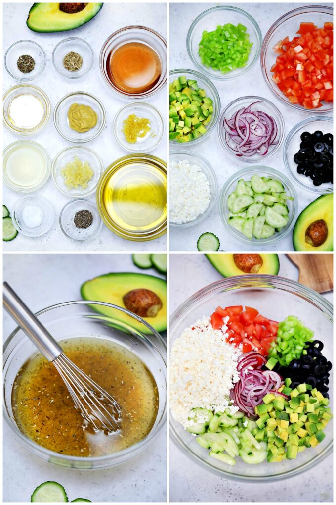 Picture of Greek Salad ingredients and Greek Salad dressing ingredients.