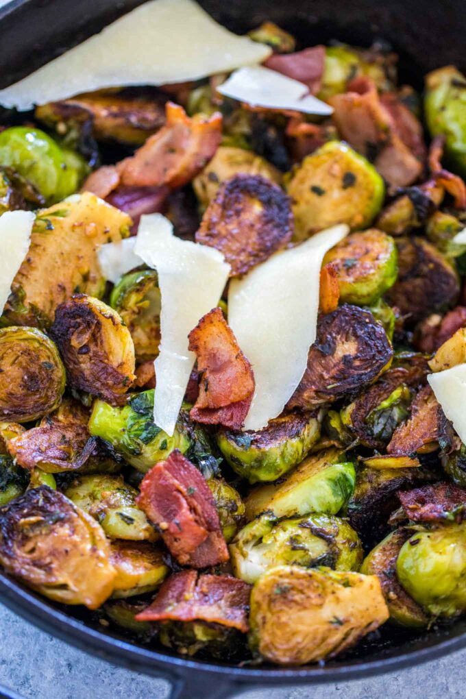 Image of homemade brussels sprouts with bacon.