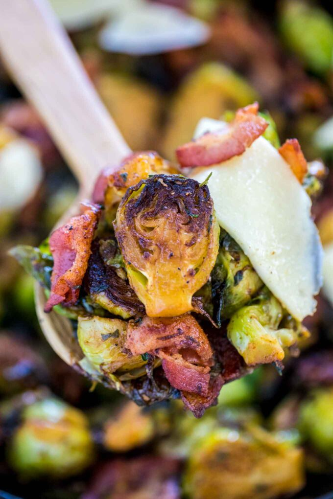 Picture of brussels sprouts with bacon and cheese.