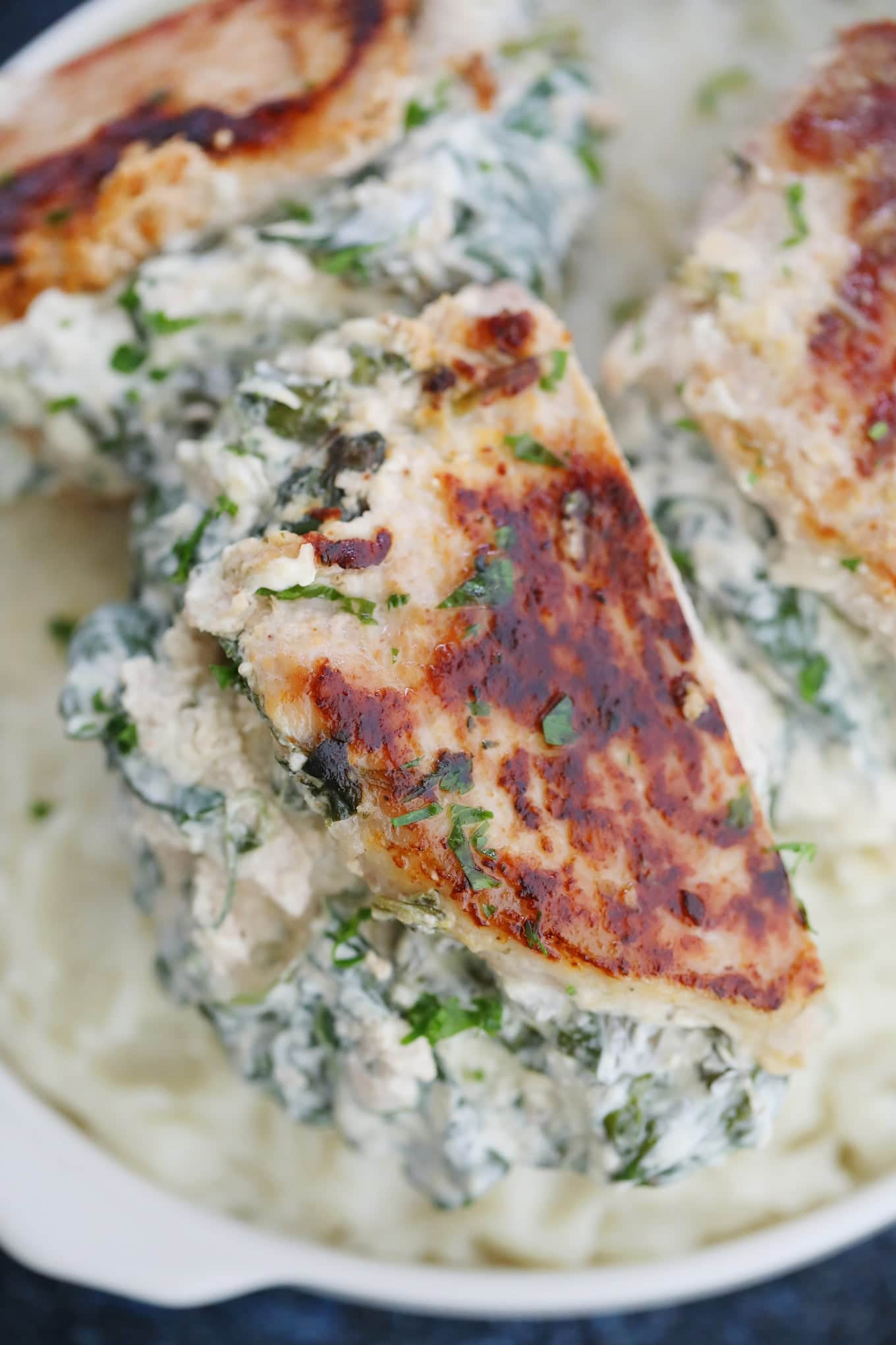 Spinach Dip Stuffed Pork Chops Recipe Sweet And Savory Meals
