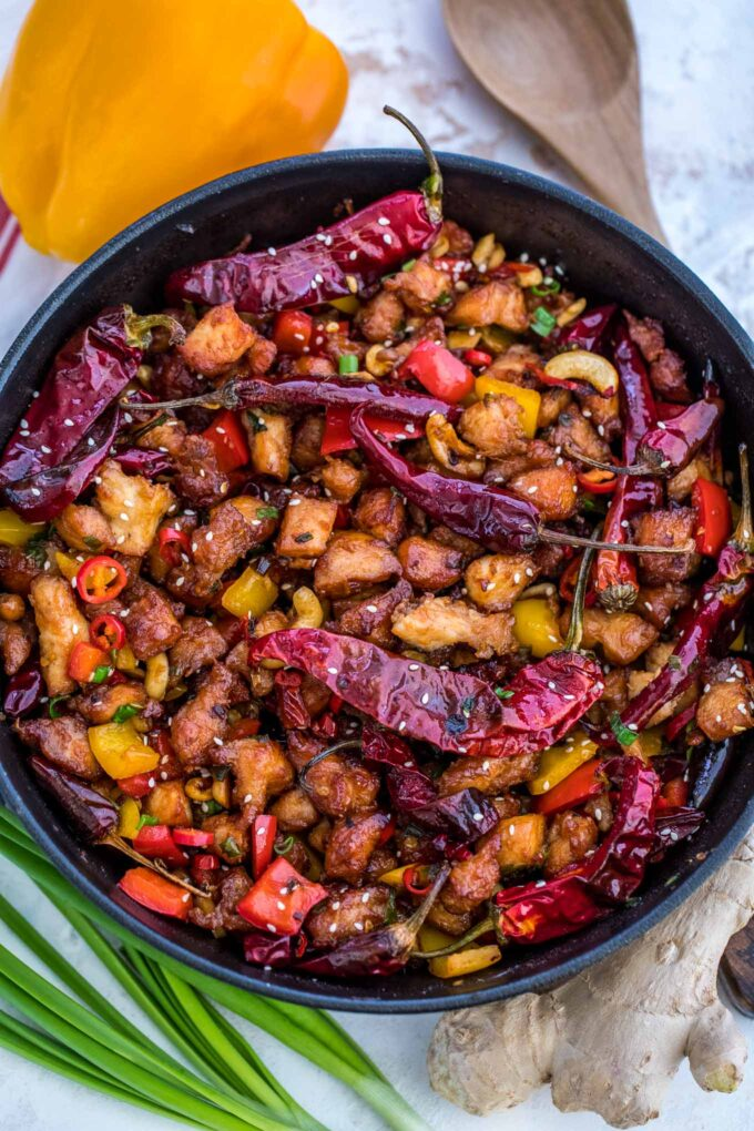 Image of Szechuan chicken in a skillet.
