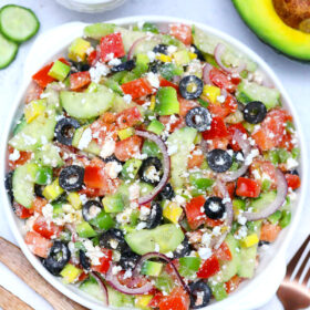 Picture of Greek Salad with avocado.