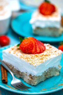 Image of mexican tres leches cake slice.