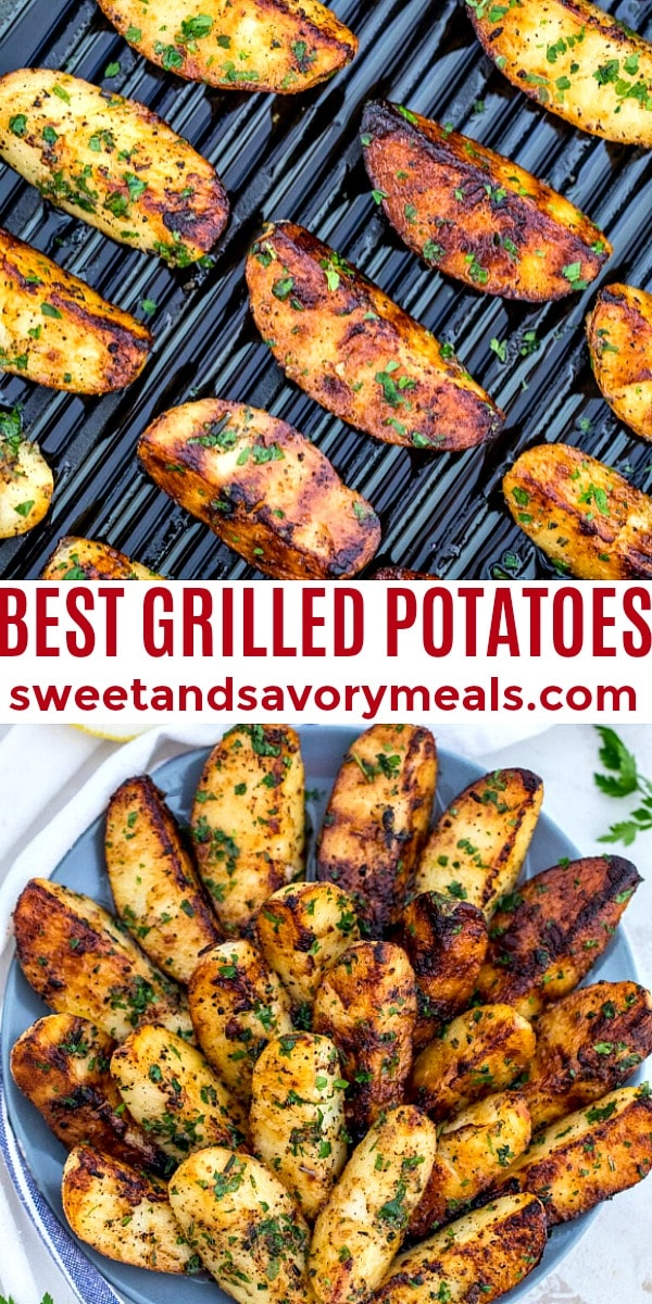 Grilled potatoes pin image.