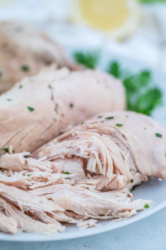 Image of boiled chicken on a white plate.