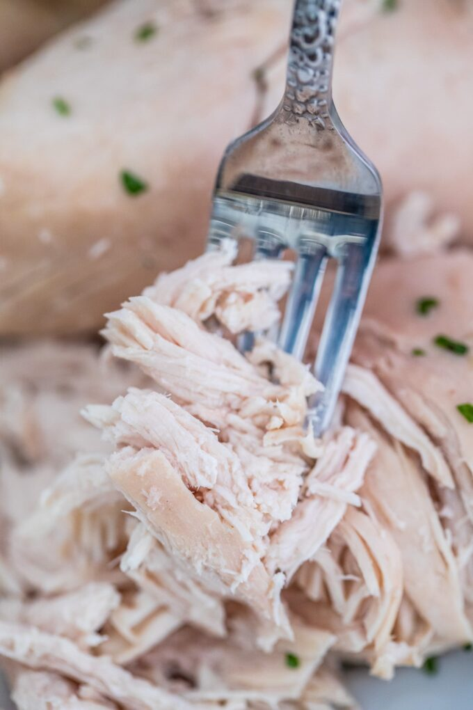 Picture of boiled chicken shredded with a silver fork.