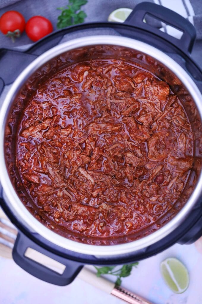 Picture of instant pot barbacoa beef.