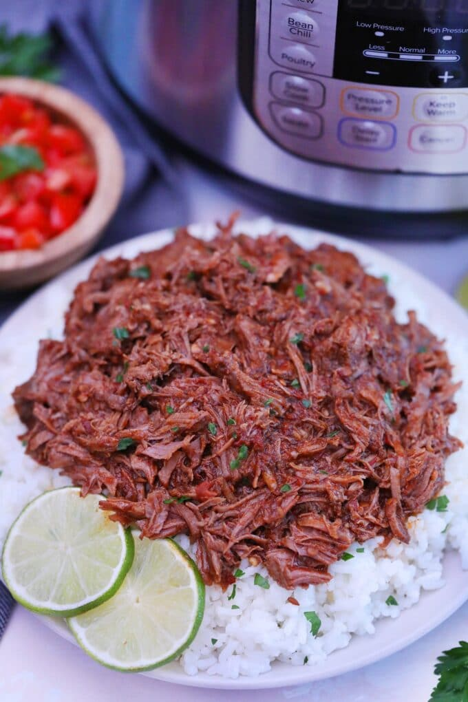 Picture of barbacoa beef over white rice.