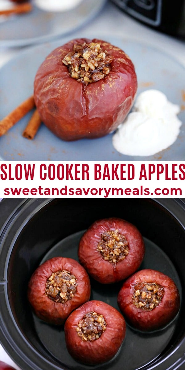 easy slow cooker baked apples pin