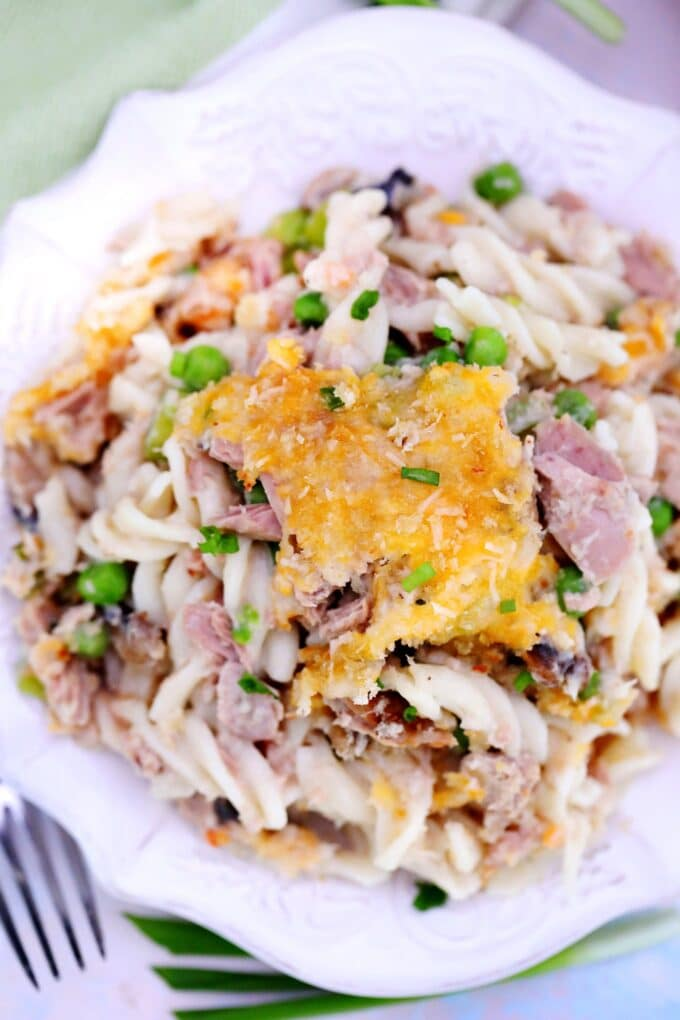 Image of tuna noodle casserole on a white plate.
