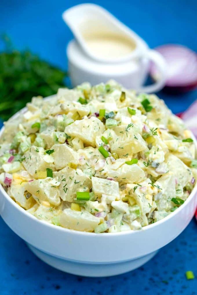 Photo of creamy potato salad.
