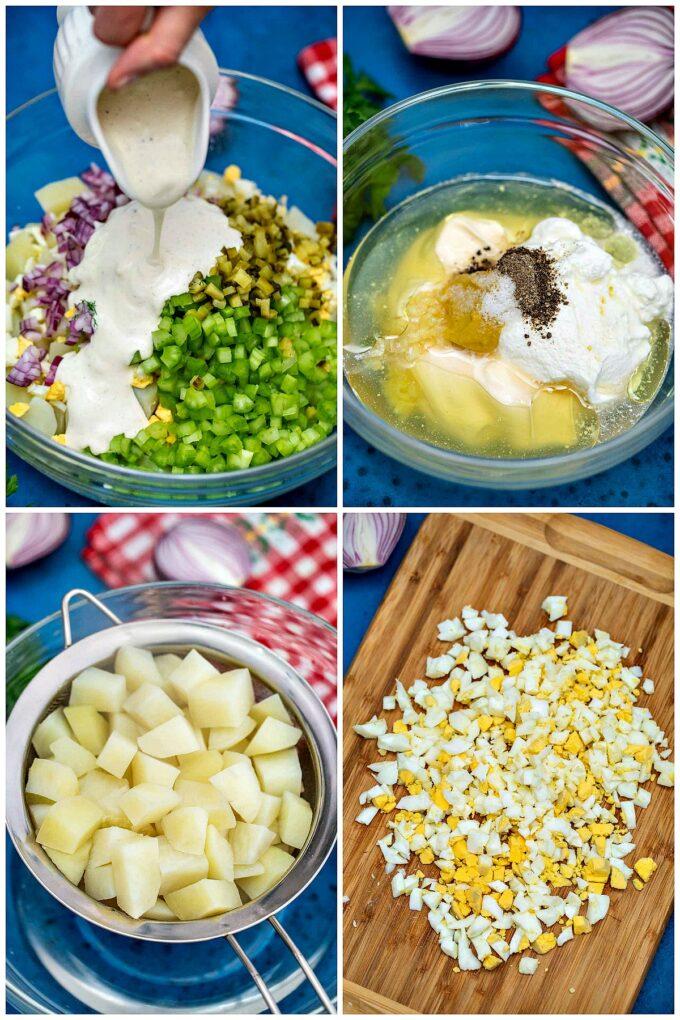Photo of how to make potato salad.
