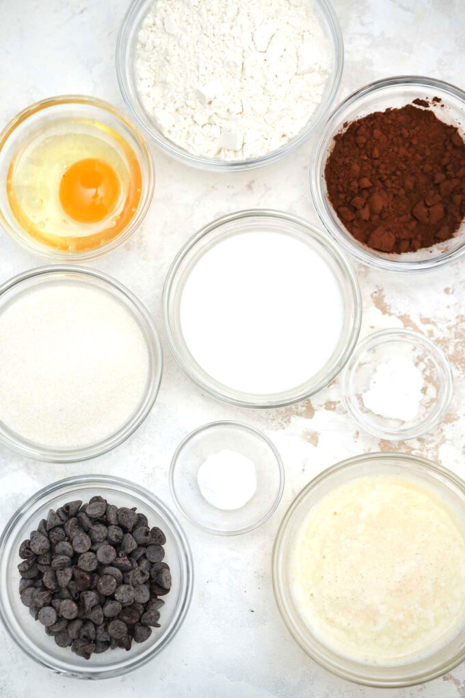 Image of instant pot chocolate muffins ingredients.