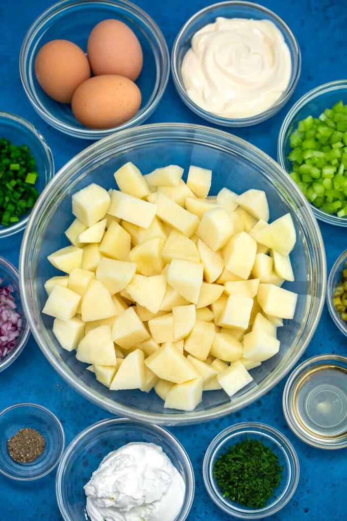 Picture of potato salad recipe ingredients.