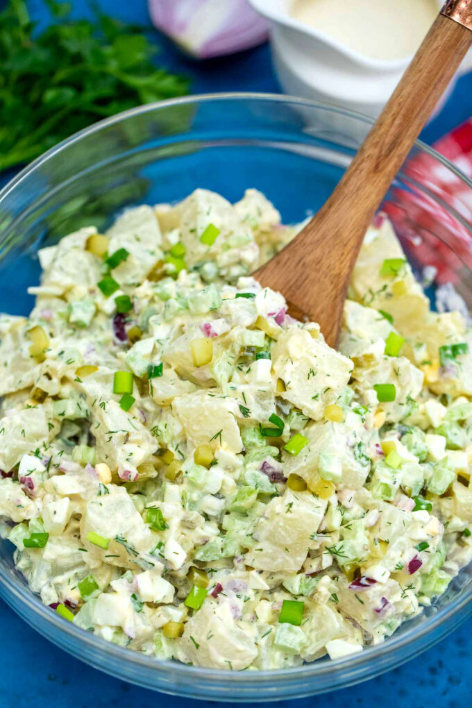 Picture of a large bowl of potato salad.