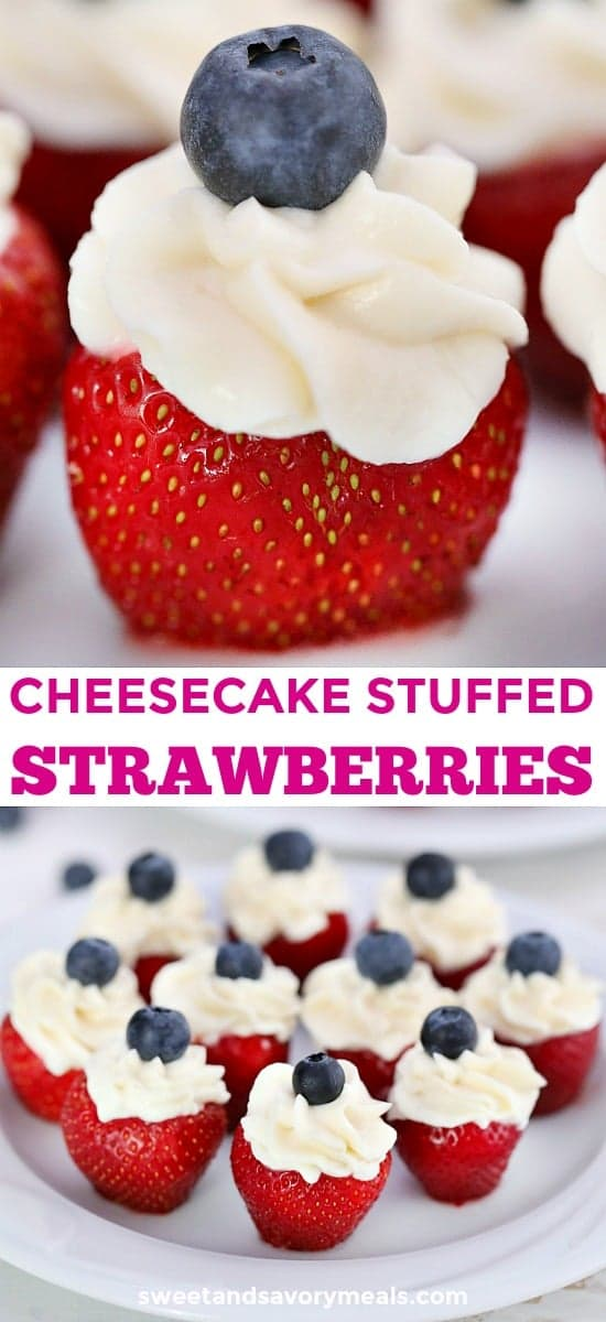 Patriotic Stuffed Strawberries