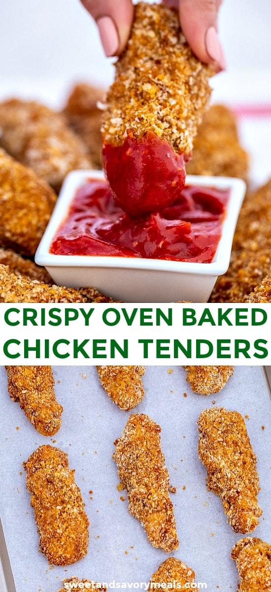 Picture of chicken tenders baked in the oven.