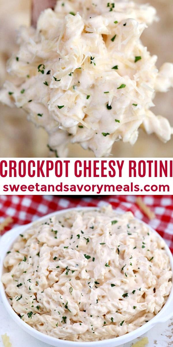 easy crockpot cheesy rotini pin