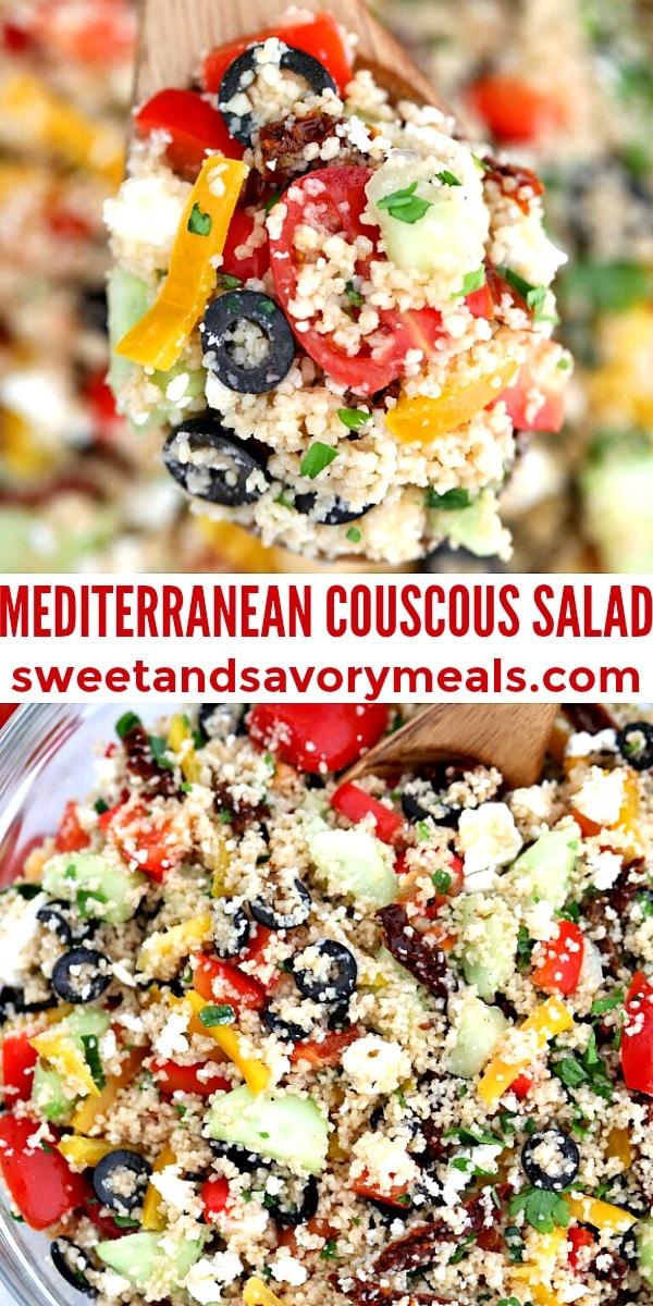 easy mediterranean couscous salad pin
