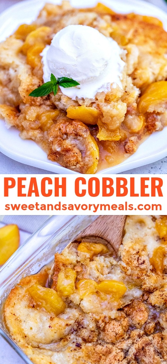 Peach cobbler photo for pinterest.