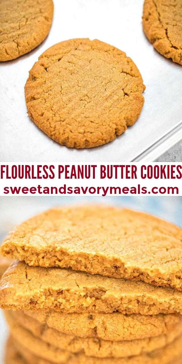 easy flourless peanut butter cookies pin