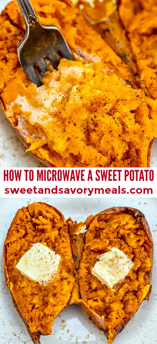 Photo of how to microwave a sweet potato for thanksgiving.