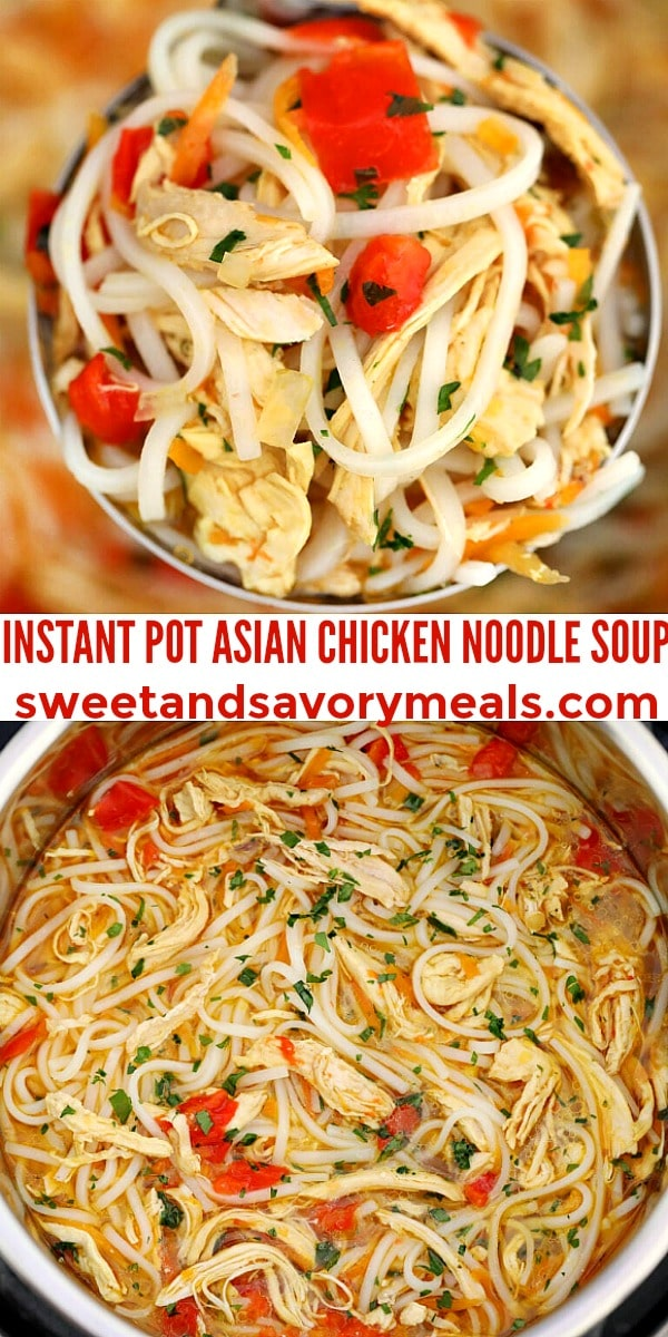 easy instant pot asian chicken noodle soup pin