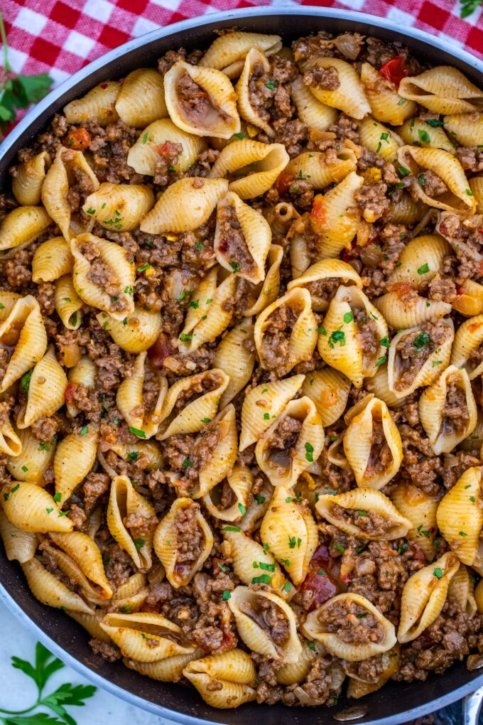 Photo of taco pasta in a skillet.