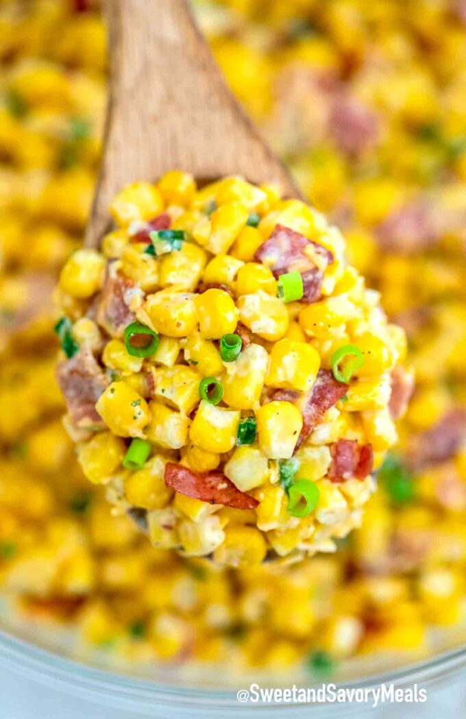 A spoonful of homemade corn salad