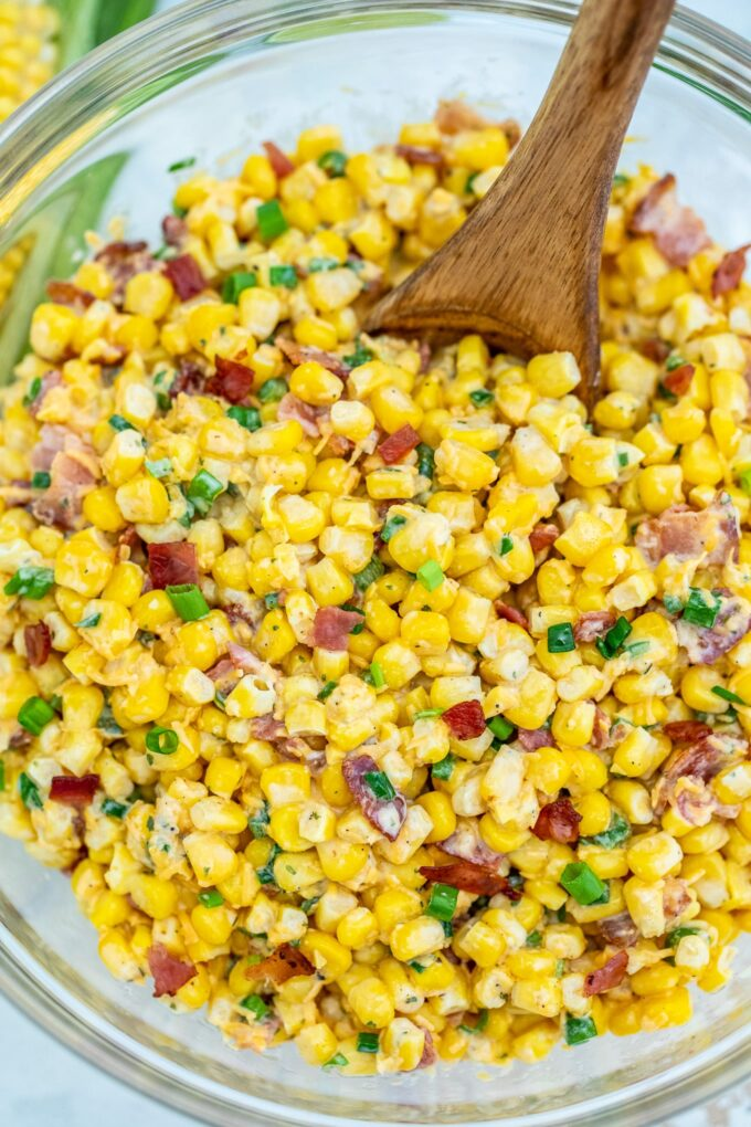Sweet corn salad with bacon in a large bowl