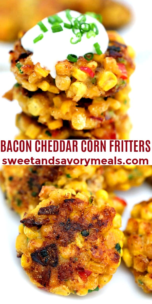 easy bacon cheddar corn fritters pin