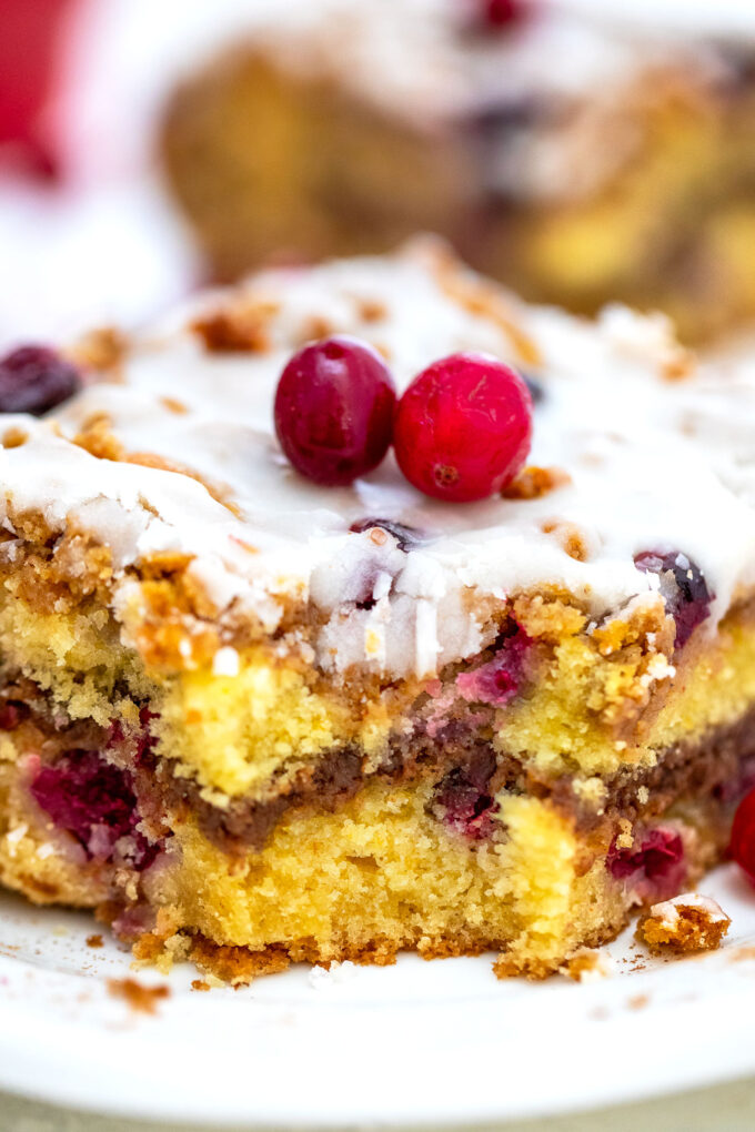 Cranberry Coffee Cake is the perfect fall dessert to partner with your favorite coffee! It is moist, sweet, and tart at the same time, and very easy to make! #coffeecake #cranberries #falldesserts #sweetandsavorymeals #thanksgiving