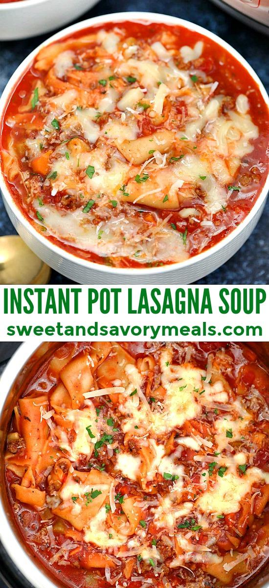 Instant pot lasagna soup picture for pinterest.