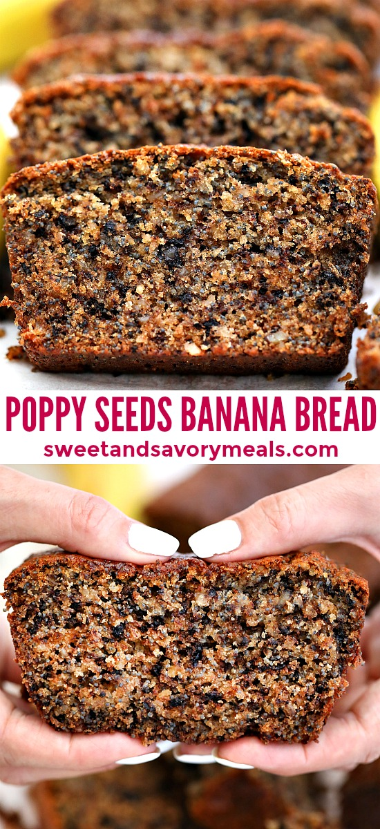 Poppy Seeds Walnut Banana Bread is soft, dense and full of flavor. This walnut banana bread is great as a snack, breakfast or dessert. #bananabread #bananas #desserts #sweetandsavorymeals #bananarecipes