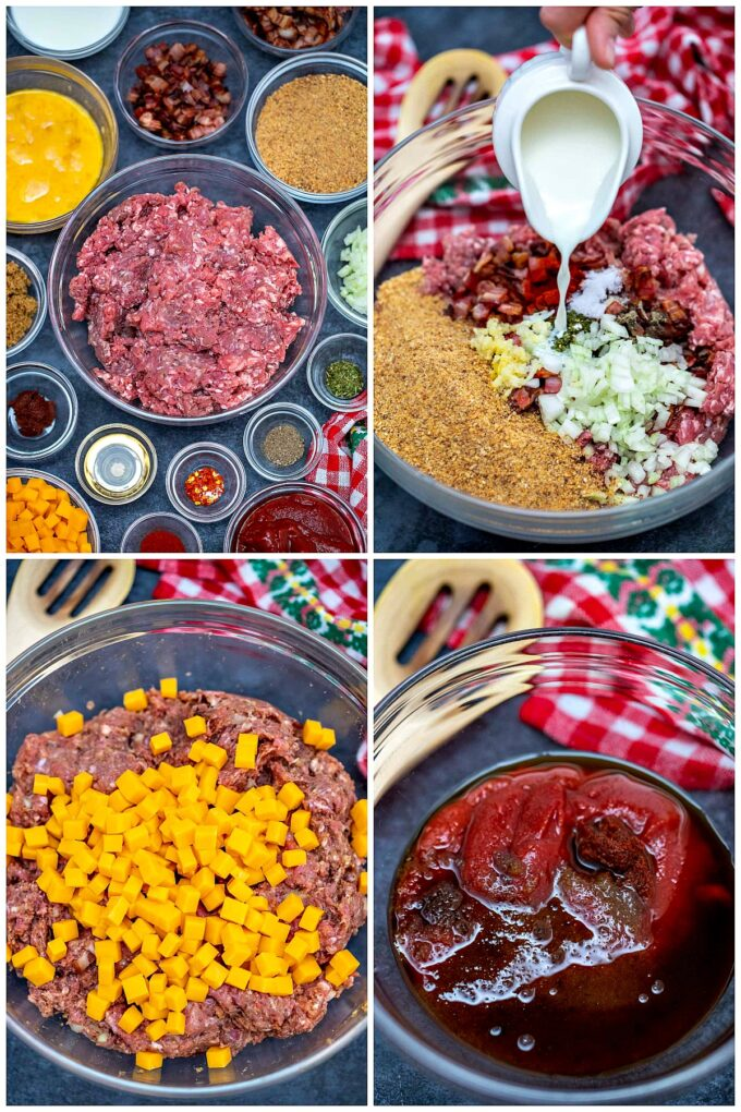 Ingredients for homemade cheeseburger meatloaf.