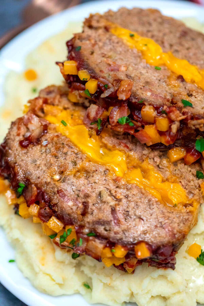 Image of bacon cheeseburger meatloaf with mashed potatoes.
