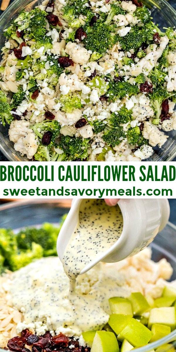 easy broccoli cauliflower salad pin