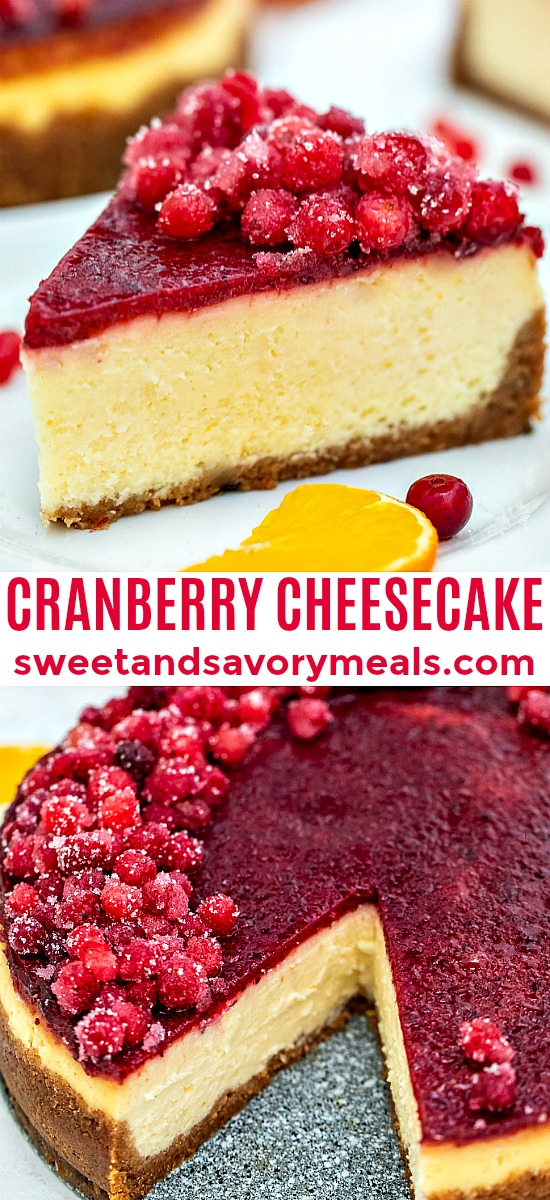 Cranberry Cheesecake is a classic American favorite that is perfect for Thanksgiving! #thanksgiving #thanksgivingrecipes #cranberries #cheesecake #sweetandsavorymeals