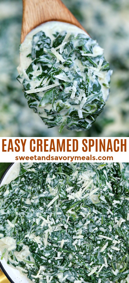 Creamed Spinach is creamy and cheesy making it a delectable side dish to savory entrees! It is a nice take on the leafy green that even kids will love! #spinach #creamedspinach #sidedish #thanksgiving #sweetandsavorymeals